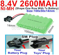 2600mah 8.4V NiMH Battery Pack-AA 8.4 Volt 2600mah Ni-MH Battery,With SM Plug-(Shape-One Row with 7x battery)-Size-100x50x14mm