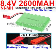 2600mah 8.4V NiMH Battery Pack-AA 8.4 Volt 2600mah Ni-MH Battery,With JST Plug-(Shape-One Row with 7x battery)-Size-100x50x14mm