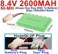 2600mah 8.4V NiMH Battery Pack-AA 8.4 Volt 2600mah Ni-MH Battery,With HuanQi-2P plug(1X Square hole+ 1X D-Shape Hole.The D-Shape Hole is Red Wire)-(Shape-One Row with 7x battery)-Size-100x50x14mm