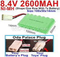 2600mah 8.4V NiMH Battery Pack-AA 8.4 Volt 2600mah Ni-MH Battery,With Oda Palace Plug(Round hole-Red Wire)-(Shape-One Row with 7x battery)-Size-100x50x14mm