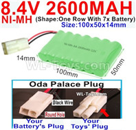 2600mah 8.4V NiMH Battery Pack-AA 8.4 Volt 2600mah Ni-MH Battery,With Oda Palace Plug(Round hole-Black Wire)-(Shape-One Row with 7x battery)-Size-100x50x14mm