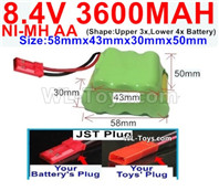 3600mah 8.4V NiMH Battery Pack-AA 8.4 Volt 3600mah Ni-MH Battery,With JST Plug-(Shape-Two Row,Upper Row with 3x Battery,Lower Row with 4x Battery)-Size-58mm(Long length)X43mm(Short length)X30mmX50mm