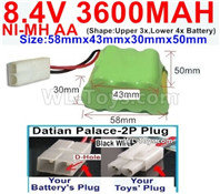 3600mah 8.4V NiMH Battery Pack-AA 8.4 Volt 3600mah Ni-MH Battery,With Datian Palace-2P Plug(The D-Shape hole is Black wire)-(Shape-Two Row,Upper Row with 3x Battery,Lower Row with 4x Battery)-Size-58mm(Long length)X43mm(Short length)X30mmX50mm