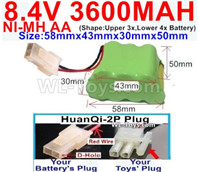 3600mah 8.4V NiMH Battery Pack-AA 8.4 Volt 3600mah Ni-MH Battery,With HuanQi-2P plug(1X Square hole+ 1X D-Shape Hole)-(Shape-Two Row,Upper Row with 3x Battery,Lower Row with 4x Battery)-Size-58mm(Long length)X43mm(Short length)X30mmX50mm