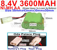 3600mah 8.4V NiMH Battery Pack-AA 8.4 Volt 3600mah Ni-MH Battery,With Oda Palace Plug(Round hole-Black Wire)-(Shape-Two Row,Upper Row with 3x Battery,Lower Row with 4x Battery)-Size-58mm(Long length)X43mm(Short length)X30mmX50mm