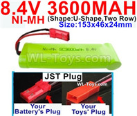 3600mah 8.4V NiMH Battery Pack-8.4 Volt 3600mah Ni-MH Battery-With JST Plug-(Shape-U-Shape,Two Row)-Size-153x46x24mm
