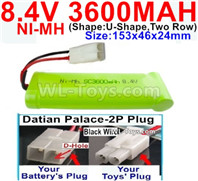 3600mah 8.4V NiMH Battery Pack-8.4 Volt 3600mah Ni-MH Battery-With Datian Palace-2P Plug(The D-Shape hole is Black wire)-(Shape-U-Shape,Two Row)-Size-153x46x24mm