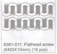 DHK RAZ-R Parts-Flathead screw(KM3x10mm)-(16pcs) Parts-8381-011,DHK RAZ-R Parts,DHK Wolf Parts,DHK HOBBY 8133 8134 Parts
