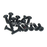 DHK RAZ-R Parts-Flathead screw-Coarse thread(KB3x10mm)-16pcs Parts-8381-012,DHK RAZ-R Parts,DHK Wolf Parts,DHK HOBBY 8133 8134 Parts