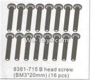 DHK RAZ-R Parts-B head screw(BM3X20)-16pcs Parts-8381-715,DHK RAZ-R Parts,DHK Wolf Parts,DHK HOBBY 8133 8134 Parts