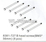 DHK RAZ-R Parts-B head screw(BM3x56MM)-8pcs Parts-8381-727,DHK RAZ-R Parts,DHK Wolf Parts,DHK HOBBY 8133 8134 Parts