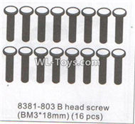 DHK RAZ-R Parts-B head screw(BM3X18mm)-16pcs Parts-8381-803,DHK RAZ-R Parts,DHK Wolf Parts,DHK HOBBY 8133 8134 Parts