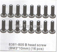 DHK RAZ-R Parts-B head Screw(BM3x10mm)-16pcs Parts-8381-805,DHK RAZ-R Parts,DHK Wolf Parts,DHK HOBBY 8133 8134 Parts