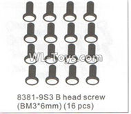 DHK RAZ-R Parts-B head screw(BM3X6mm)-16pcs Parts-8381-9S3,DHK RAZ-R Parts,DHK Wolf Parts,DHK HOBBY 8133 8134 Parts