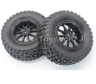 DHK Hunter Parts-Tire complete,Whole wheel unit(Black rims)-2pcs-Can also be used for HuanQi 727 Parts-8135-001-01,DHK Hunter 8135 Parts,DHK Hunter Parts-4x4 Parts,DHK Hobby 8135 Parts