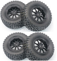 DHK Hunter Parts-Tire complete,Whole wheel unit(Black rims)-4pcs-Can also be used for HuanQi 727 Parts-8135-001-02,DHK Hunter 8135 Parts,DHK Hunter Parts-4x4 Parts,DHK Hobby 8135 Parts
