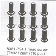 DHK Hunter Parts-T head DHK 8384 parts Screw(TM4X12)-16pcs Parts-8381-724,DHK Hunter 8135 Parts,DHK Hunter Parts-4x4 Parts,DHK Hobby 8135 Parts