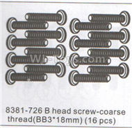 DHK Hunter Parts-B head screw-Coarse thread(BB3x18mm)-16pcs Parts-8381-726,DHK Hunter 8135 Parts,DHK Hunter Parts-4x4 Parts,DHK Hobby 8135 Parts