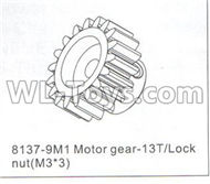 DHK Crosse Parts-Motor gear-13T and Lock nut(M3x3) Parts-8137-9M1,DHK Crosse 8136 RC Car Parts,DHK Hobby Crosse 8136 Parts