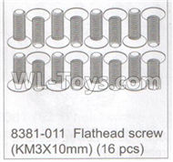 DHK Maximus Parts-Flathead screw(KM3x10mm)-(16pcs) Parts-8381-011,DHK Hobby Maximus 8382 Parts,DHK 8382 RC Truck Parts