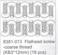 DHK Maximus Parts-Flathead screw-coarse thread(KB3X12mm)-16pcs Parts-8381-013,DHK Hobby Maximus 8382 Parts,DHK 8382 RC Truck Parts
