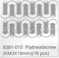 DHK Maximus Parts-Flathead screw(KM3x18mm)-16pcs Parts-8381-015,DHK Hobby Maximus 8382 Parts,DHK 8382 RC Truck Parts