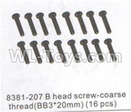 DHK Maximus Parts-B head Screw-Coarse thread(BB 3x20mm)-16pcs Parts-8381-207,DHK Hobby Maximus 8382 Parts,DHK 8382 RC Truck Parts