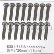 DHK Maximus Parts-B head screw(BM3X20mm)-16pcs Parts-8381-715,DHK Hobby Maximus 8382 Parts,DHK 8382 RC Truck Parts