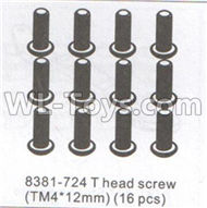 DHK Maximus Parts-T head DHK 8384 parts Screw(TM4X12)-16pcs Parts-8381-724,DHK Hobby Maximus 8382 Parts,DHK 8382 RC Truck Parts