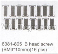 DHK Maximus Parts-B head Screw(BM3x10mm)-16pcs Parts-8381-805,DHK Hobby Maximus 8382 Parts,DHK 8382 RC Truck Parts
