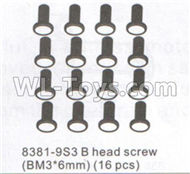 DHK Maximus Parts-B head Screw(BM3x6mm)-16pcs Parts-8381-9S3,DHK Hobby Maximus 8382 Parts,DHK 8382 RC Truck Parts