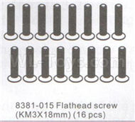 DHK Zombie 8384 Parts-Flathead screw(KM3x18mm)-16pcs Parts-8381-015,DHK Hobby Zombie 8E 8384 RC Truck Parts