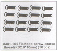 DHK Zombie 8384 Parts-Flathead Screw-Coarse thread(KB2.6X10mm)-16pcs Parts-8381-104,DHK Hobby Zombie 8E 8384 RC Truck Parts