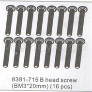 DHK Zombie 8384 Parts-B head screw(BM3X20mm)-16pcs Parts-8381-715,DHK Hobby Zombie 8E 8384 RC Truck Parts