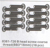 DHK Zombie 8384 Parts-B head screw-Coarse thread(BB3x18mm)-16pcs Parts-8381-726,DHK Hobby Zombie 8E 8384 RC Truck Parts