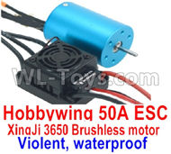 DHK Zombie 8384 ESC and Motor Parts-Hobbywing 50A ESC and XinjI 3650 Brushless motor(Violent, waterproof) Parts,DHK Hobby Zombie 8E 8384 RC Truck Parts