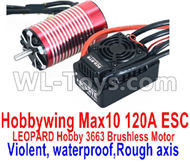 DHK Zombie 8384 ESC and Motor Parts-Hobbywing Max 10 120A ESC and LEOPARD Hobby 3663 Brushless Motor(Violent,waterproof,Rough axis) Parts,DHK Hobby Zombie 8E 8384 RC Truck Parts
