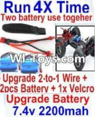 FeiYue FY-01 Spare Parts-35-07 Upgrade 2-to-1 wire and Velcro & 2pcs Battery-Two battery can be used together,Run 2x Time than usual,FeiYue FY-01 RC Car Parts,FY01 FY-01 RC Truck Spare parts Accessories,1:12 4WD High Speed Buggy Parts