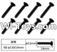 FeiYue FY-01 Spare Parts-60-01 W12073 Inner Hexagon Flat head tapping screws(8pcs)-2.6x14mm,FeiYue FY-01 RC Car Parts,FY01 FY-01 RC Truck Spare parts Accessories,1:12 4WD High Speed Buggy Parts
