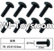 FeiYue FY-01 Spare Parts-60-12 W12074 Inner Hexagon T head Self-attack screws(8pcs)-2.6X8mm,FeiYue FY-01 RC Car Parts,FY01 FY-01 RC Truck Spare parts Accessories,1:12 4WD High Speed Buggy Parts