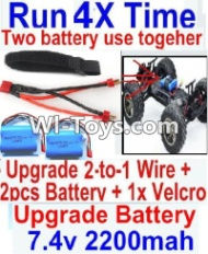 FeiYue FY-02 Spare Parts-35-07 Upgrade 2-to-1 wire and Velcro & 2pcs Battery-Two battery can be used together,Run 2x Time than usual,FeiYue FY-02 RC Car Parts,FY02 FY-02 RC Truck Spare parts Accessories,1:12 4WD High Speed Buggy Parts