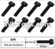 FeiYue FY-02 Spare Parts-60-08 W12069 Inner Hexagon Cup head machine screws(8pcs)-2.5X10mm,FeiYue FY-02 RC Car Parts,FY02 FY-02 RC Truck Spare parts Accessories,1:12 4WD High Speed Buggy Parts