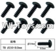 FeiYue FY-02 Spare Parts-60-12 W12074 Inner Hexagon T head Self-attack screws(8pcs)-2.6X8mm,FeiYue FY-02 RC Car Parts,FY02 FY-02 RC Truck Spare parts Accessories,1:12 4WD High Speed Buggy Parts