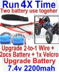 FeiYue FY03 FY-03 Upgrade 2-to-1 wire and Velcro & 2pcs Battery-Two battery can be used together,Run 2x Time than usual Parts-,FeiYue FY03 Parts
