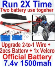 FeiYue FY-04 Spare Parts-35-06 Upgrade 2-to-1 wire and Velcro & 2pcs Battery-Two battery can Be used together,Run 2x Time than usual,FeiYue FY-04 RC Car Parts,FY04 FY-04 RC Motorcycle Truck Spare parts Accessories,1:12 4WD High Speed Buggy Parts