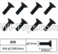FeiYue FY-04 Spare Parts-60-07 W12068 Inner Hexagon Flat head machine screws(8pcs)-2.5X8mm,FeiYue FY-04 RC Car Parts,FY04 FY-04 RC Motorcycle Truck Spare parts Accessories,1:12 4WD High Speed Buggy Parts