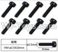 FeiYue FY-04 Spare Parts-60-08 W12069 Inner Hexagon Cup head machine screws(8pcs)-2.5X10mm,FeiYue FY-04 RC Car Parts,FY04 FY-04 RC Motorcycle Truck Spare parts Accessories,1:12 4WD High Speed Buggy Parts