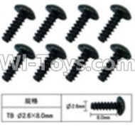 FeiYue FY-04 Spare Parts-60-12 W12074 Inner Hexagon T head Self-attack screws(8pcs)-2.6X8mm,FeiYue FY-04 RC Car Parts,FY04 FY-04 RC Motorcycle Truck Spare parts Accessories,1:12 4WD High Speed Buggy Parts