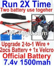 FeiYue FY-05 Spare Parts-35-06 Upgrade 2-to-1 wire and Velcro & 2pcs Battery-Two battery can Be used together,Run 2x Time than usual,FeiYue FY-05 RC Car Parts,FY05 FY-05 RC Truck Spare parts Accessories,1:12 4WD High Speed Buggy Parts