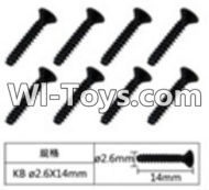 FeiYue FY-05 Spare Parts-60-01 W12073 Inner Hexagon Flat head tapping screws(8pcs)-2.6x14mm,FeiYue FY-05 RC Car Parts,FY05 FY-05 RC Truck Spare parts Accessories,1:12 4WD High Speed Buggy Parts